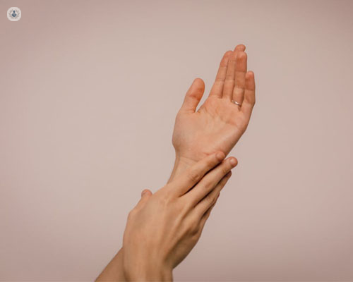 A picture of someone's hands. The hands and arms are often affected in cases of scleroderma, causing thickening and hardening of patches of skin.